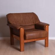 fotel tekowy skórzany masywny lata 60 i 70 (1)