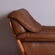 fotel tekowy skórzany masywny lata 60 i 70 (7)