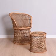 Fotel z podnóżkiem rattanowy, lata 60. komplet (1)