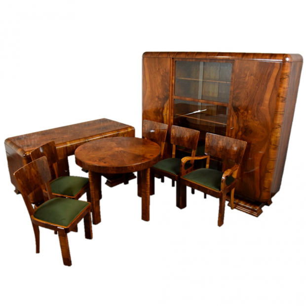 Gabinet art deco, biurko biblioteka stolik 4 krzesła i fotel
