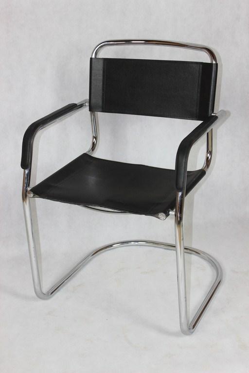 Bauhaus chromowane krzesło, skóra lata 70. | Patyna.pl