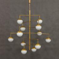 Italian  brass mid century chandelier-2
