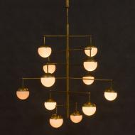 Italian  brass mid century chandelier-9