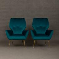 Italian mid-century velvet lounge chairs-2