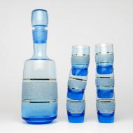 karafka niebieska z kieliszkami prl (1)