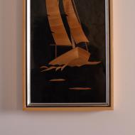 kolaż ze słomki żaglówka łódź obrazek (2)
