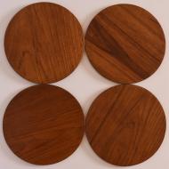 komplet czterech tac, tacki tekowe (1)