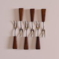 Komplet sześciu widelców do przekąsek, Nirosta, Niemcy, lata 60 (1)