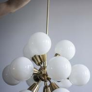 lamp; chandelier; sputnik; space age; gold; brass; żyrandol; mid-century; prl_78