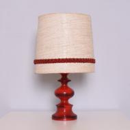lampa czerwona bezowy abazur (1)