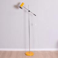 Lampa podłgowa, lata 60. żółta chromowana piękna (1)