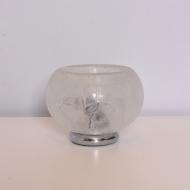 Lampa stołowa, lata 70. szklana z przezroczystym kloszem (3)
