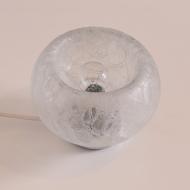 Lampa stołowa, lata 70. szklana z przezroczystym kloszem (6)