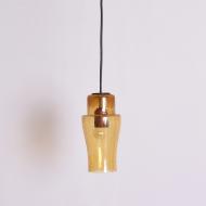 Lampa sufitowa, lata 70. bursztynowa żłóta szklana (1)