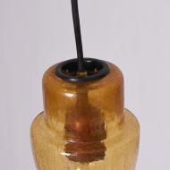 Lampa sufitowa, lata 70. bursztynowa żłóta szklana (4)