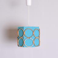 Lampa sufitowa, lata 70. niebieska wiklinowe okręgi (1)