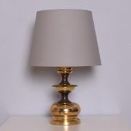 Mosiężna lampa stołowa, lata 70. beżowy abażur itd (1)