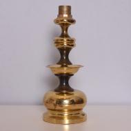 Mosiężna lampa stołowa, lata 70. beżowy abażur itd (3)