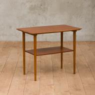 Organic shape side table with a shelf-1