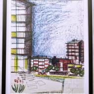 p071959M i K Piechotkowie rysunek zespołu miejskiego do Pawilonu Polskiego na wystawie światowej w Brukseli