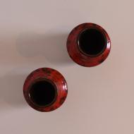 Para wazonów, West Germany, Niemcy, lata 70. czerwony czarny wazoniki (4)