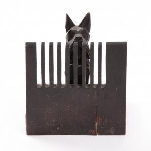 Podpórka do książek z figurką psa_drewno_Antyki Sosenko_Kraków_2-780x780