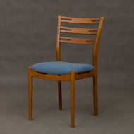 set of 6 teak and beech chairs in blue upholstery-14