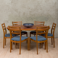 set of 6 teak and beech chairs in blue upholstery-18