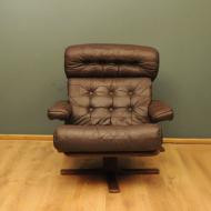 skorzany brazowy fotel vintage lata 60-te  a