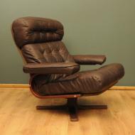 skorzany brazowy fotel vintage lata 60-te  f