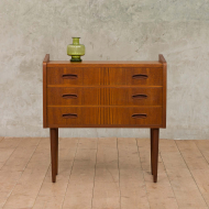Small chest of drawers dresser in teak with solid teak pulls 1969