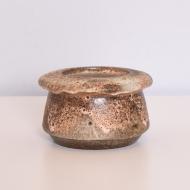 Świecznik ceramiczny, lata 70. beżowy brąz (1)