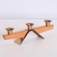 świecznik drewno złoty metal (6)
