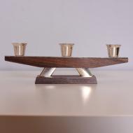 Świecznik, lata 70. ciemne drewno metal (3)