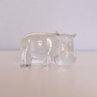 Szklana figurka Hipopotam proj. B. Vallien, Szwecja, lata 70 (1)