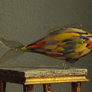 szklana ryba prl wielokolorowa