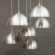 Two sets of 3 polished aliminum lamps-19