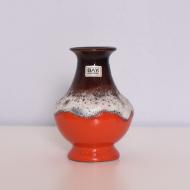 Wazon, Bay Keramik, Niemcy, lata 60. czerwony brązowy biały (1)