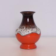 Wazon, Bay Keramik, Niemcy, lata 60. czerwony brązowy biały (3)