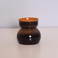 Wazon ceramiczny, lata 70. pomarańczowy w środku (1)