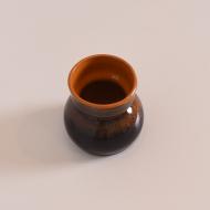 Wazon ceramiczny, lata 70. pomarańczowy w środku (3)