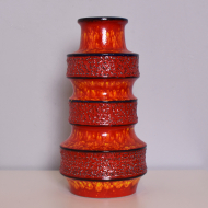 Wazon, Scheurich, Niemcy, lata 70. duży czerwony granatowy pomarańczowy (1)