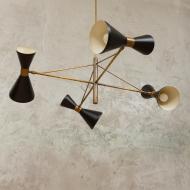 włoska lampa wisząca stilnovo 4 klosze-6