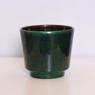 zielona butelkowa doniczka osłonka lata 70 (1)