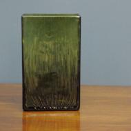 zielony piękny szklany wazon prostokątny  6h